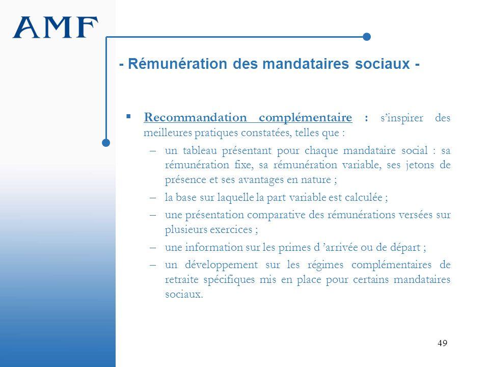 49 - Rémunération des mandataires sociaux - Recommandation complémentaire : sinspirer des meilleures pratiques constatées, telles que : – un tableau p