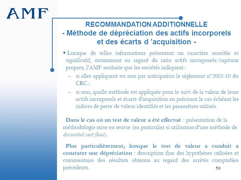 50 RECOMMANDATION ADDITIONNELLE - Méthode de dépréciation des actifs incorporels et des écarts d acquisition - Lorsque de telles informations présente