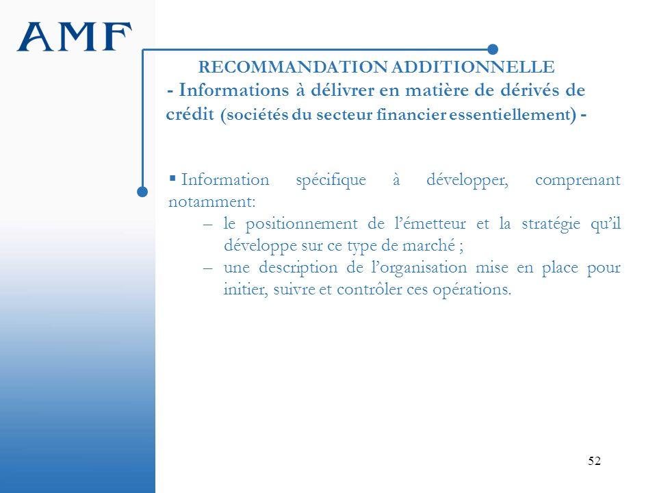 52 RECOMMANDATION ADDITIONNELLE - Informations à délivrer en matière de dérivés de crédit (sociétés du secteur financier essentiellement ) - Informati