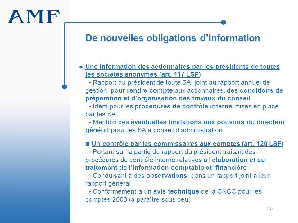 56 Une information des actionnaires par les présidents de toutes les sociétés anonymes (art. 117 LSF) - Rapport du président de toute SA, joint au rap