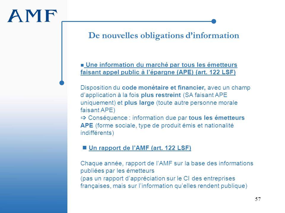 57 Une information du marché par tous les émetteurs faisant appel public à lépargne (APE) (art. 122 LSF) Disposition du code monétaire et financier, a