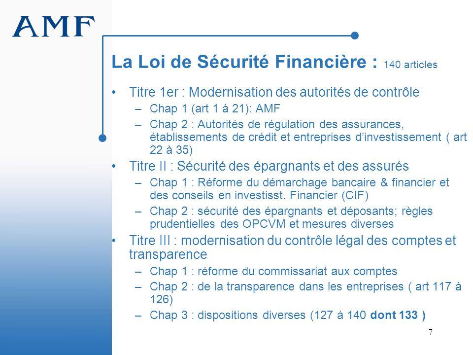 7 La Loi de Sécurité Financière : 140 articles Titre 1er : Modernisation des autorités de contrôle –Chap 1 (art 1 à 21): AMF –Chap 2 : Autorités de ré