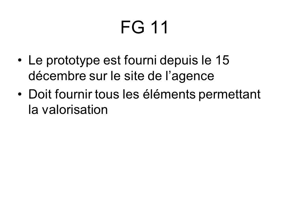 FG 11 Le prototype est fourni depuis le 15 décembre sur le site de lagence Doit fournir tous les éléments permettant la valorisation