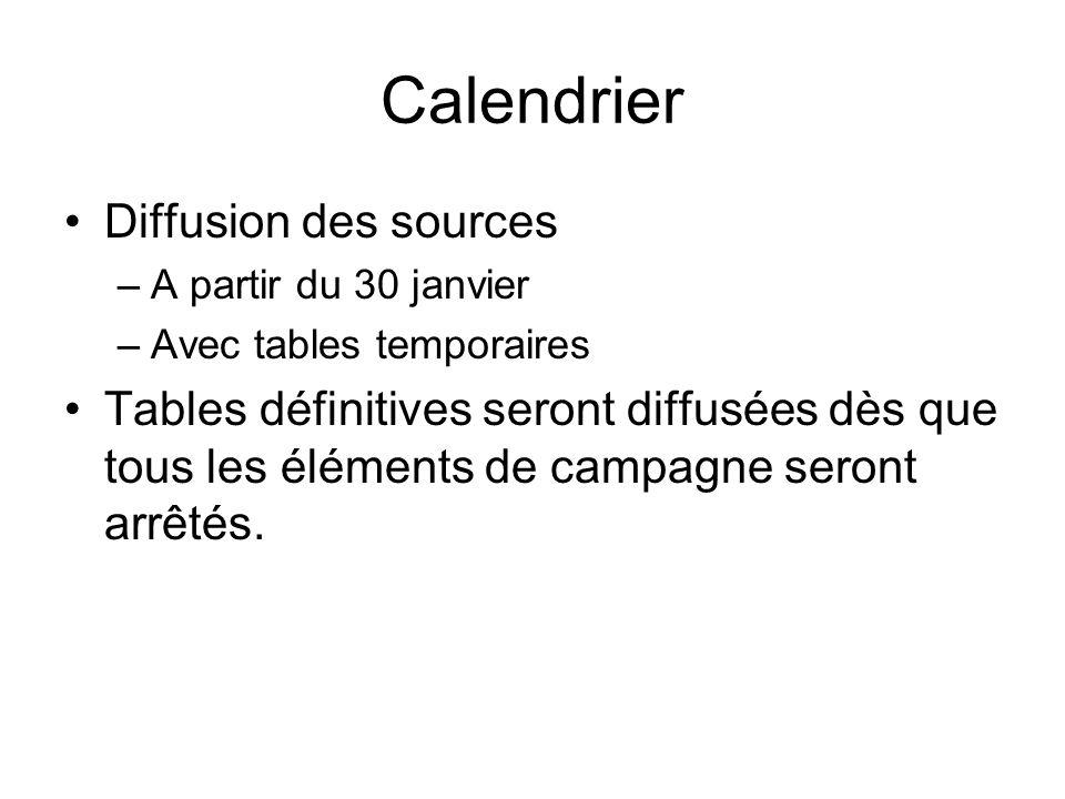 Calendrier Diffusion des sources –A partir du 30 janvier –Avec tables temporaires Tables définitives seront diffusées dès que tous les éléments de cam