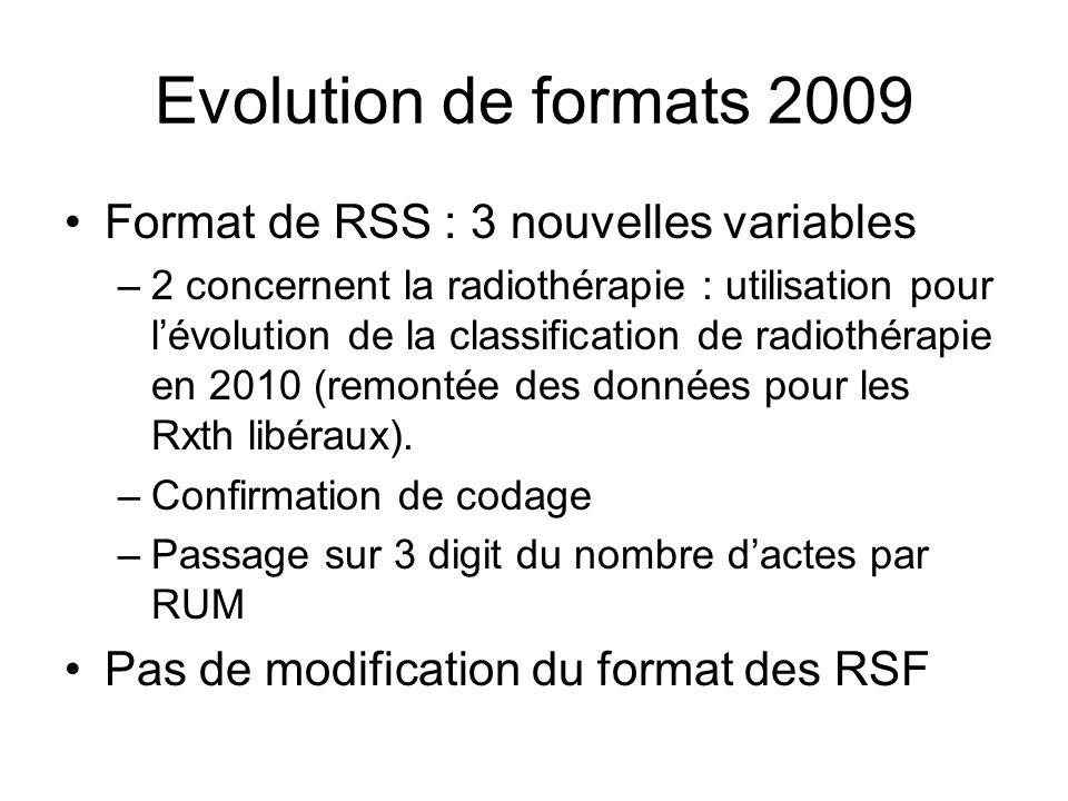 Evolution de formats 2009 Format de RSS : 3 nouvelles variables –2 concernent la radiothérapie : utilisation pour lévolution de la classification de r