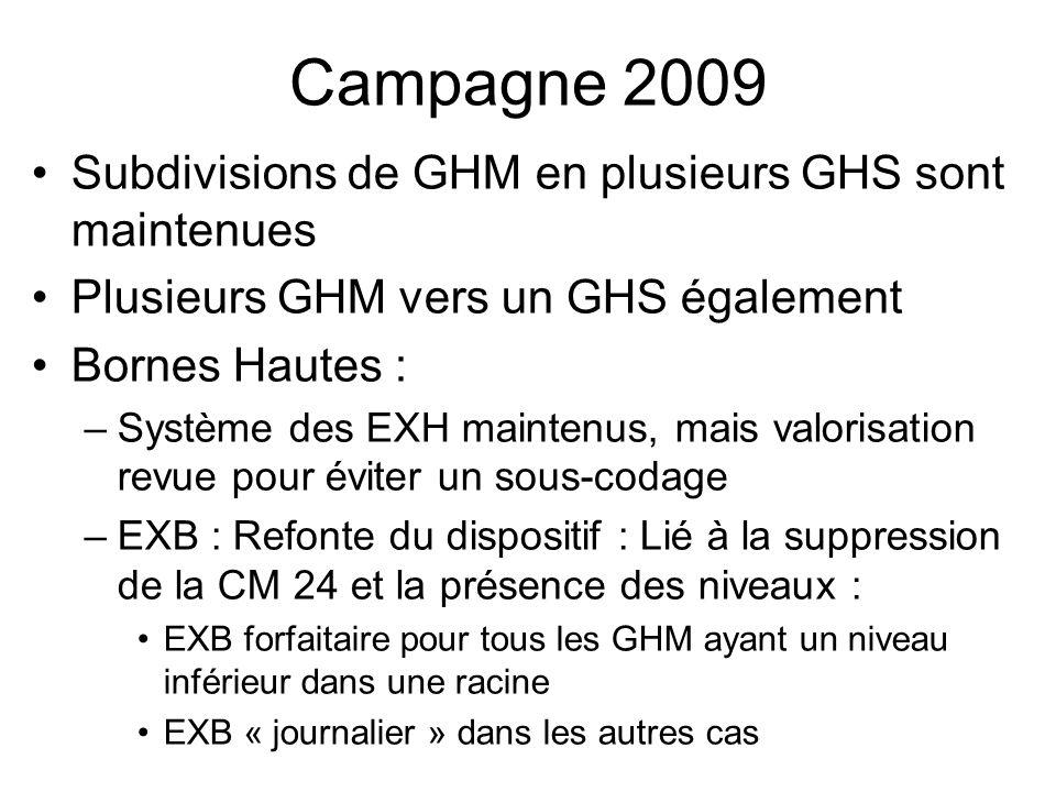 Campagne 2009 Subdivisions de GHM en plusieurs GHS sont maintenues Plusieurs GHM vers un GHS également Bornes Hautes : –Système des EXH maintenus, mai
