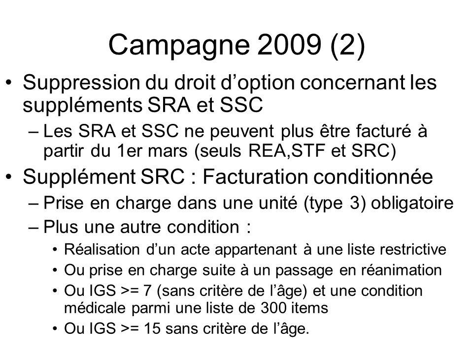 Campagne 2009 (2) Suppression du droit doption concernant les suppléments SRA et SSC –Les SRA et SSC ne peuvent plus être facturé à partir du 1er mars