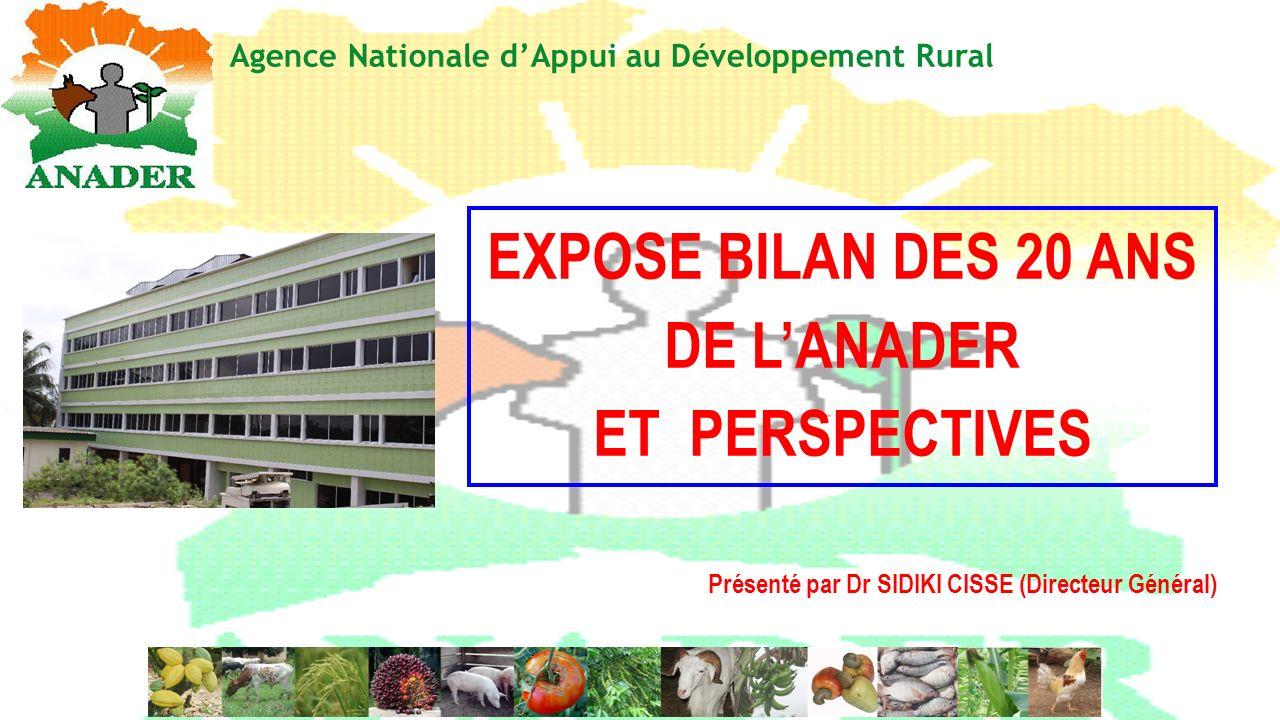 EXPOSE BILAN DES 20 ANS DE LANADER ET PERSPECTIVES Agence Nationale dAppui au Développement Rural Présenté par Dr SIDIKI CISSE (Directeur Général)