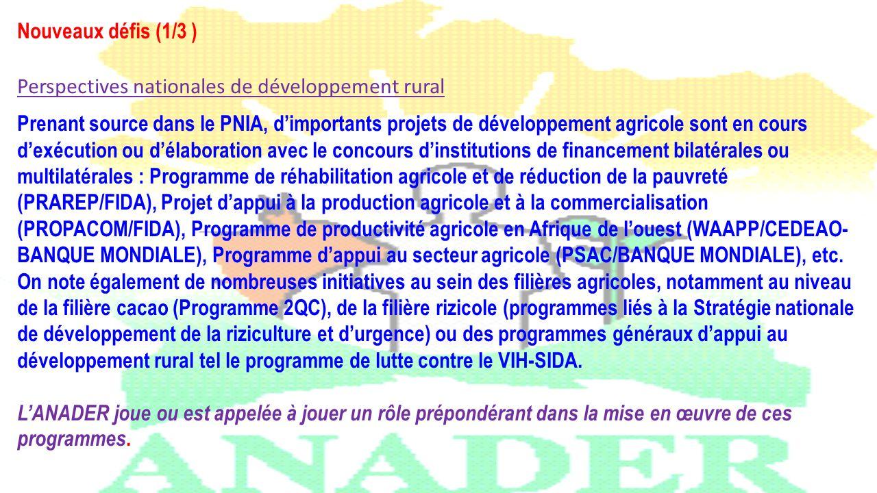 Nouveaux défis (1/3 ) Perspectives nationales de développement rural Prenant source dans le PNIA, dimportants projets de développement agricole sont e