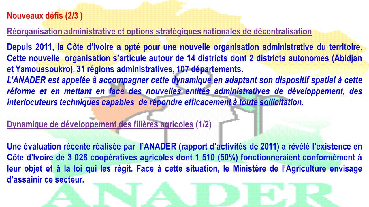 Nouveaux défis (2/3 ) Réorganisation administrative et options stratégiques nationales de décentralisation Depuis 2011, la Côte dIvoire a opté pour un