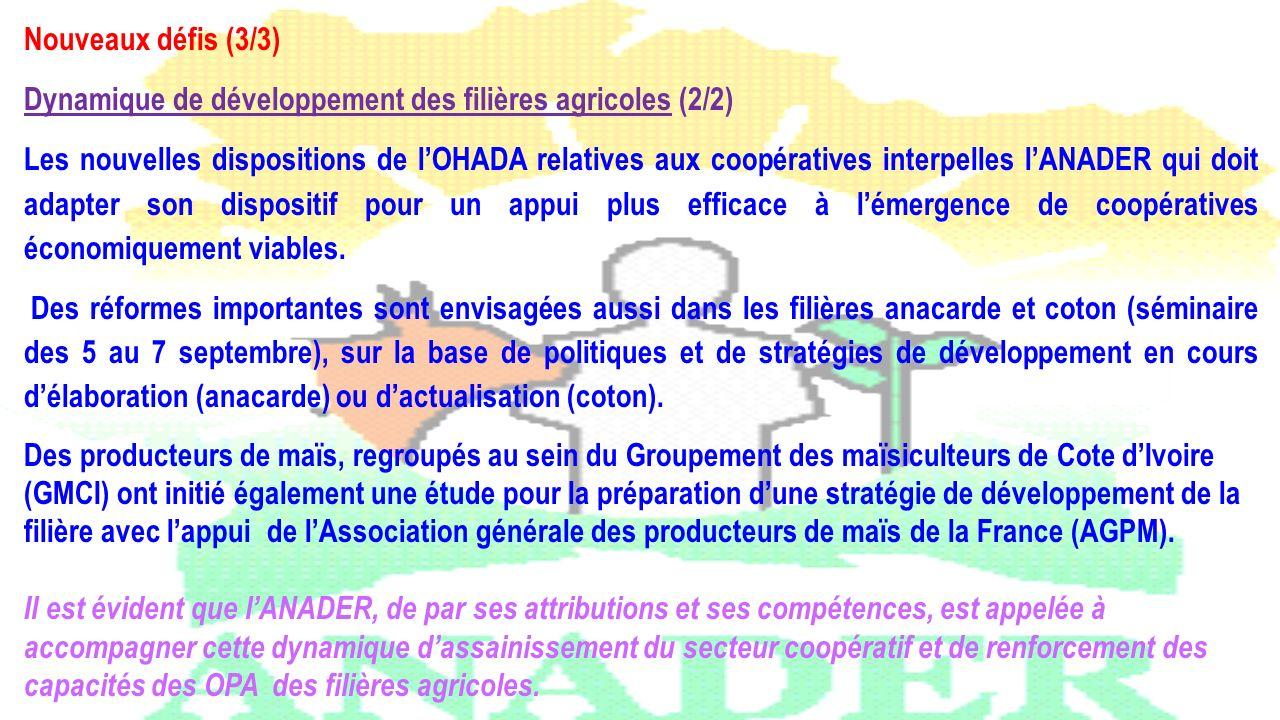Nouveaux défis (3/3) Dynamique de développement des filières agricoles (2/2) Les nouvelles dispositions de lOHADA relatives aux coopératives interpell