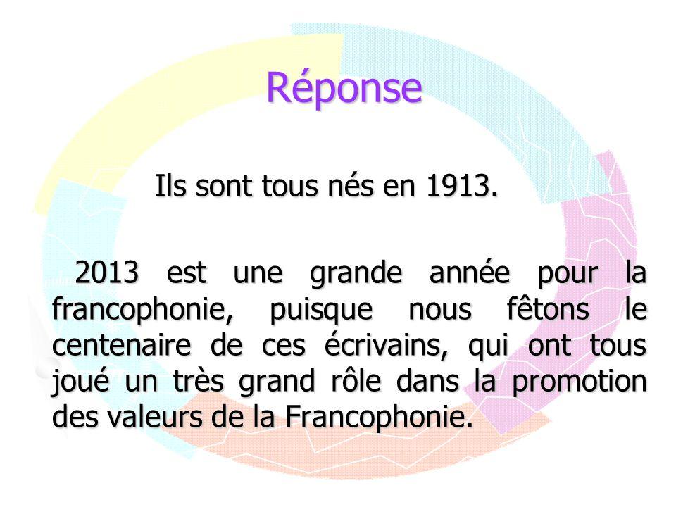 Réponse Ils sont tous nés en 1913. 2013 est une grande année pour la francophonie, puisque nous fêtons le centenaire de ces écrivains, qui ont tous jo