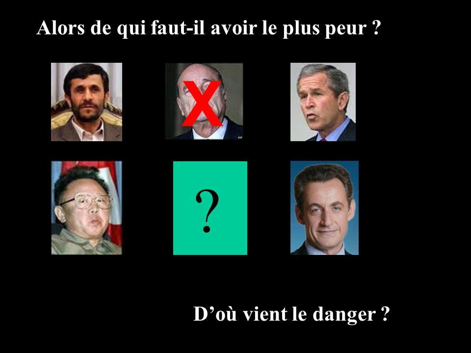 Alors de qui faut-il avoir le plus peur ? Doù vient le danger ? ? X