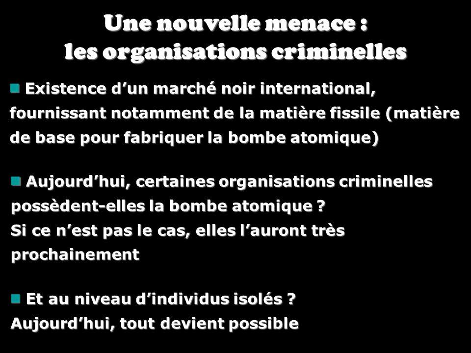 Une nouvelle menace : les organisations criminelles Existence dun marché noir international, fournissant notamment de la matière fissile (matière de b