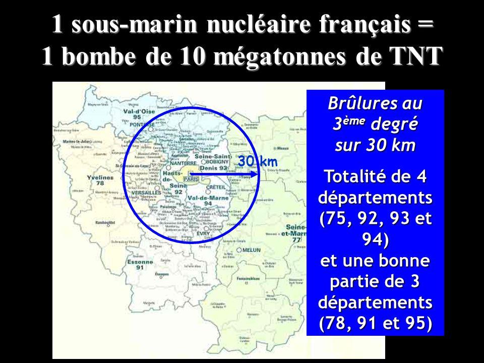 30 km Brûlures au 3 ème degré sur 30 km Totalité de 4 départements (75, 92, 93 et 94) et une bonne partie de 3 départements (78, 91 et 95) 1 sous-mari