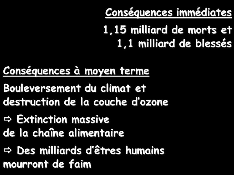 Conséquences immédiates 1,15 milliard de morts et 1,1 milliard de blessés Conséquences à moyen terme Bouleversement du climat et destruction de la cou