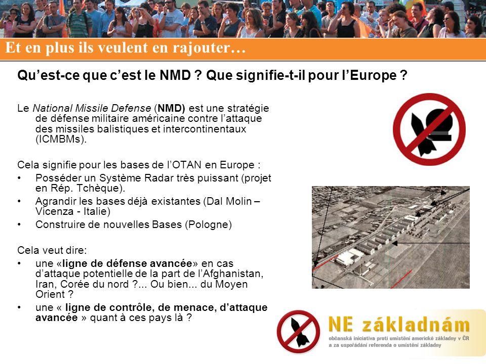 Quest-ce que cest le NMD ? Que signifie-t-il pour lEurope ? Le National Missile Defense (NMD) est une stratégie de défense militaire américaine contre