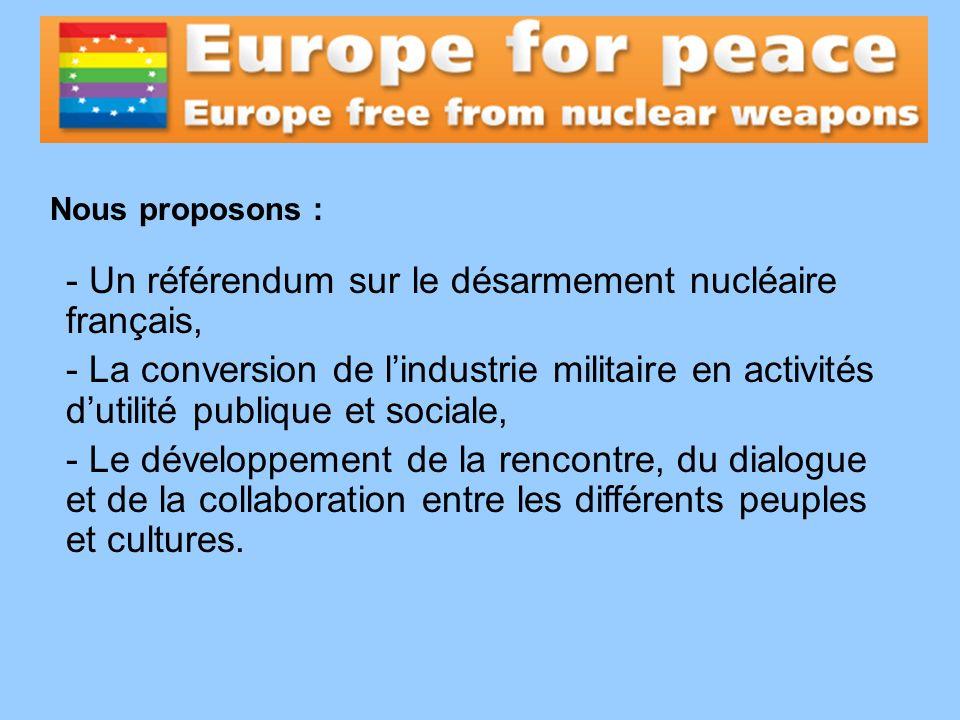 - Un référendum sur le désarmement nucléaire français, - La conversion de lindustrie militaire en activités dutilité publique et sociale, - Le dévelop