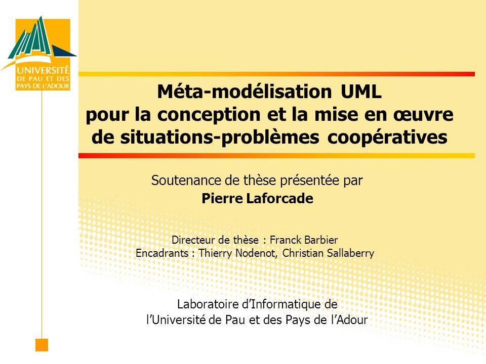 2 Plan Introduction aux modèles pour la e-formation Étude des situations-problèmes, plates-formes et UML Contribution Langage de conception CPM Modèle de composant éducatif CPL Bilan et perspectives