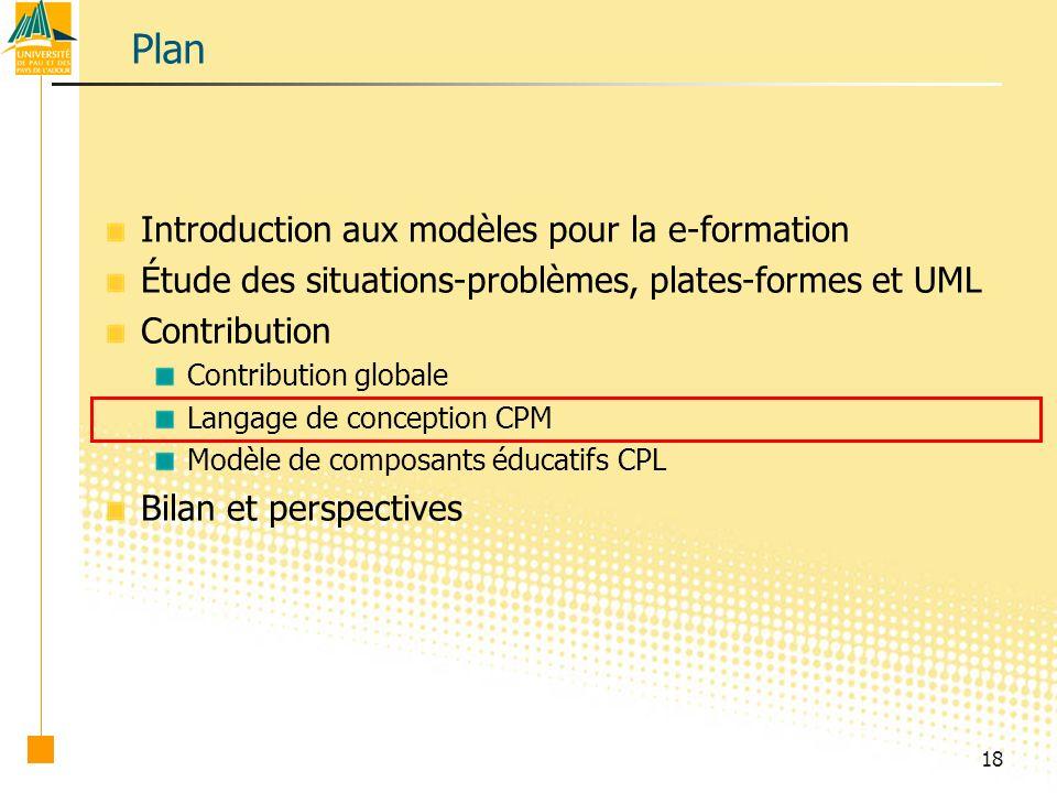 18 Plan Introduction aux modèles pour la e-formation Étude des situations-problèmes, plates-formes et UML Contribution Contribution globale Langage de conception CPM Modèle de composants éducatifs CPL Bilan et perspectives