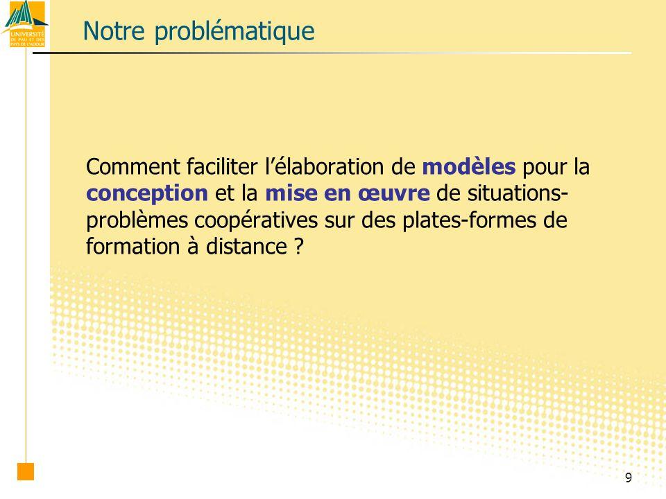 9 Notre problématique Comment faciliter lélaboration de modèles pour la conception et la mise en œuvre de situations- problèmes coopératives sur des plates-formes de formation à distance ?