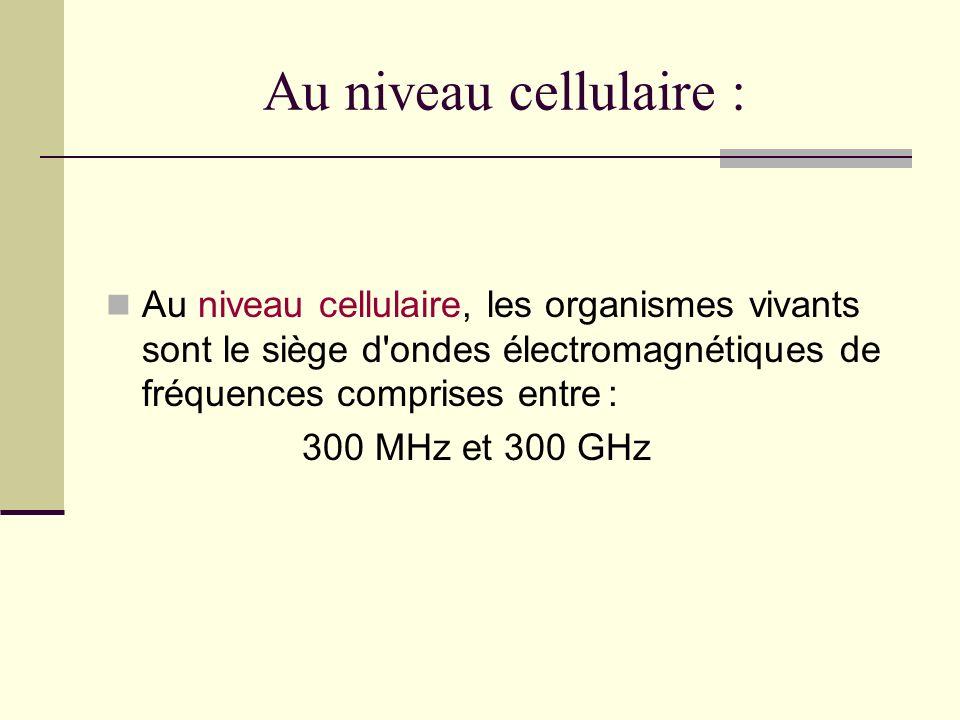 Au niveau cellulaire : Au niveau cellulaire, les organismes vivants sont le siège d'ondes électromagnétiques de fréquences comprises entre : 300 MHz e