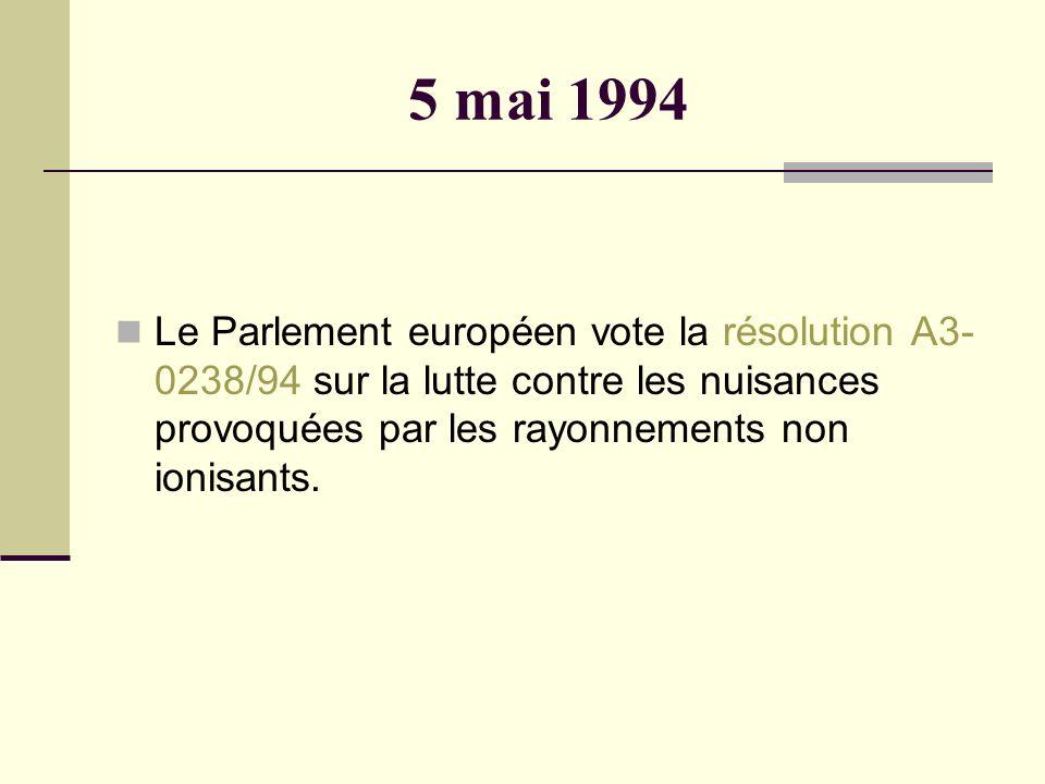 5 mai 1994 Le Parlement européen vote la résolution A3- 0238/94 sur la lutte contre les nuisances provoquées par les rayonnements non ionisants.