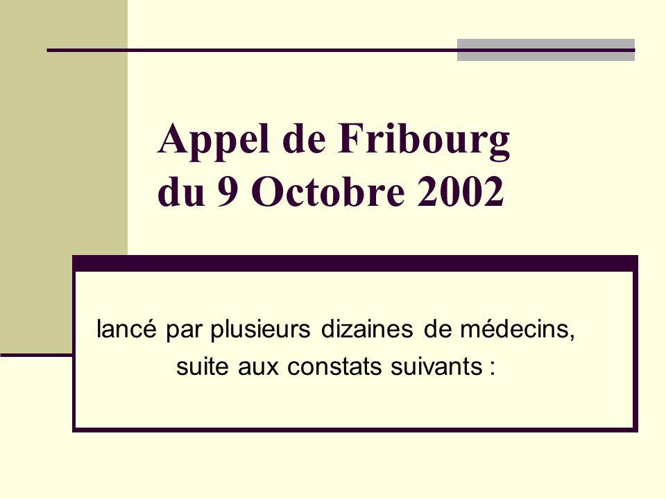 Appel de Fribourg du 9 Octobre 2002 lancé par plusieurs dizaines de médecins, suite aux constats suivants :
