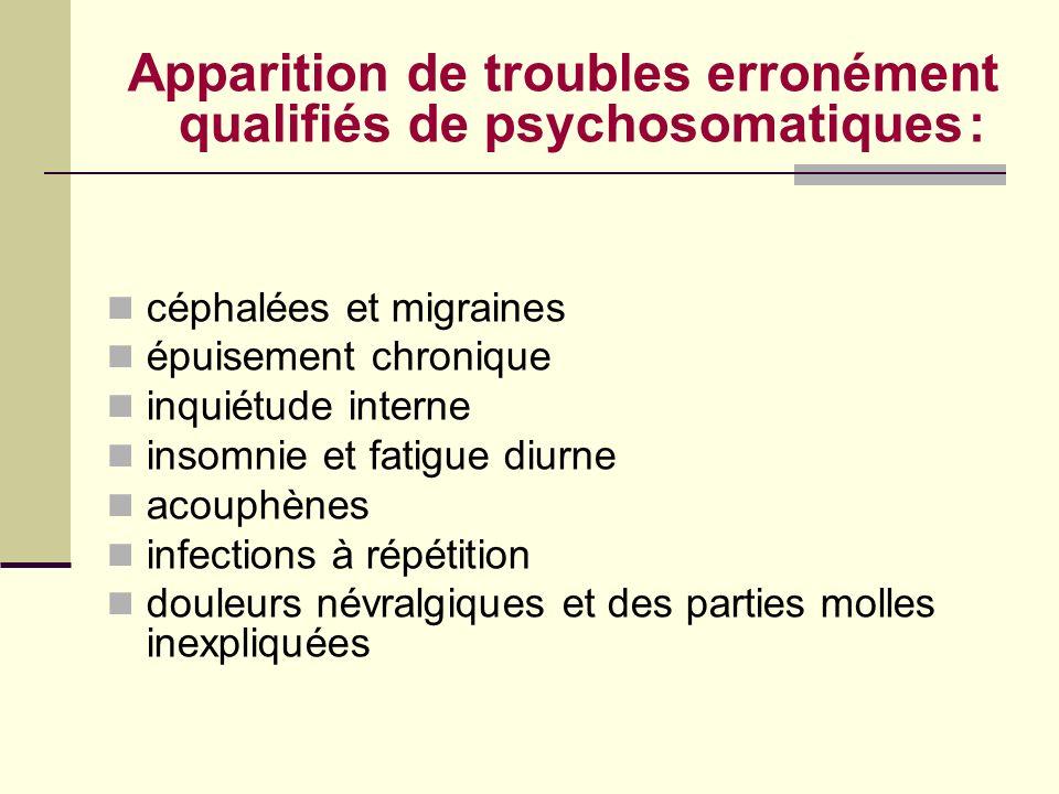 Apparition de troubles erronément qualifiés de psychosomatiques : céphalées et migraines épuisement chronique inquiétude interne insomnie et fatigue d