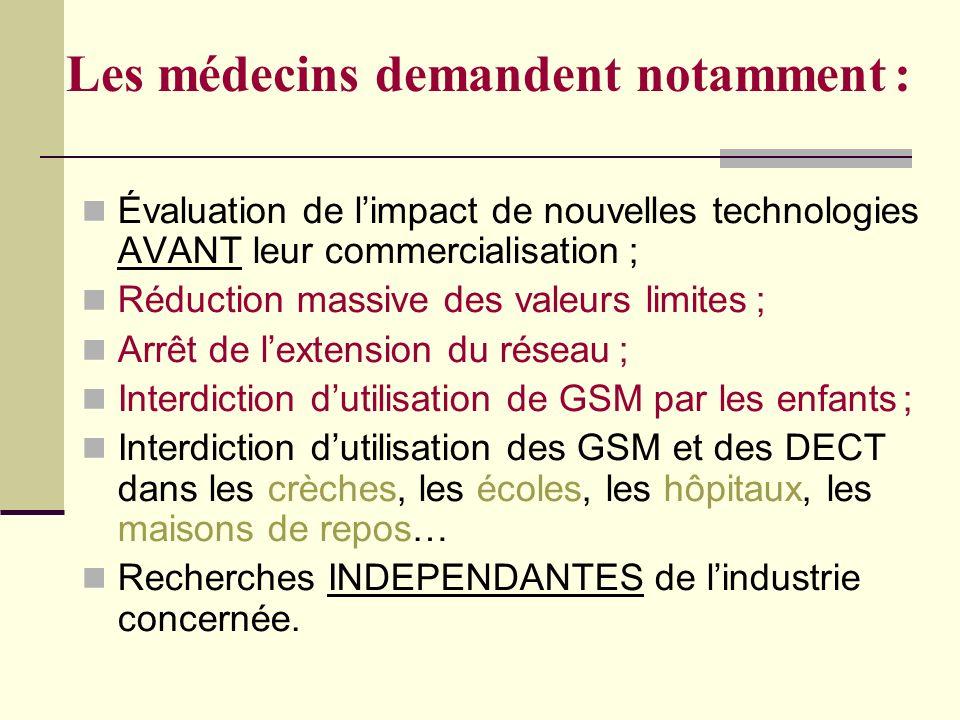 Les médecins demandent notamment : Évaluation de limpact de nouvelles technologies AVANT leur commercialisation ; Réduction massive des valeurs limite