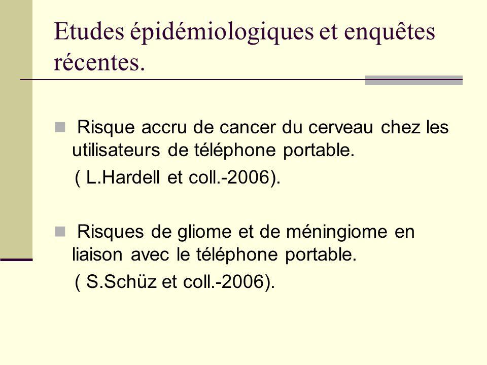 Etudes épidémiologiques et enquêtes récentes. Risque accru de cancer du cerveau chez les utilisateurs de téléphone portable. ( L.Hardell et coll.-2006