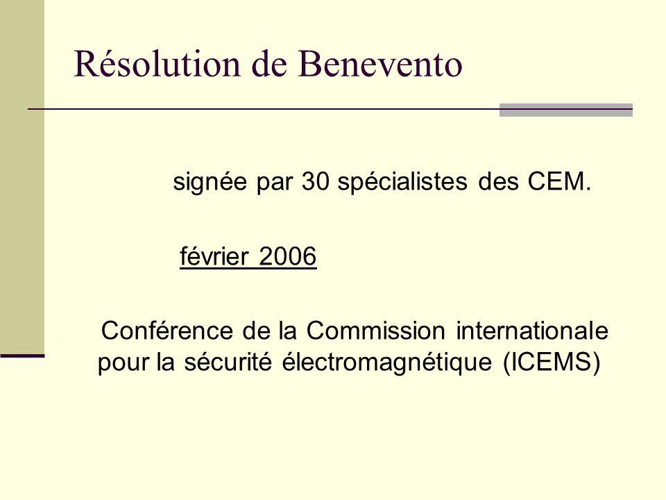 Résolution de Benevento signée par 30 spécialistes des CEM. février 2006 Conférence de la Commission internationale pour la sécurité électromagnétique