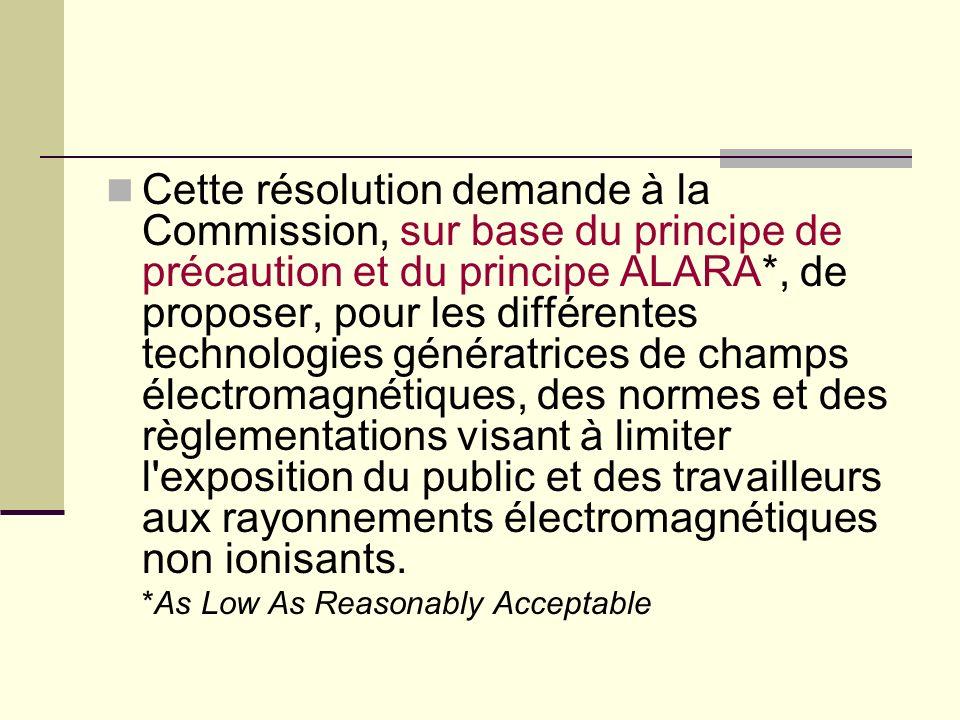 Cette résolution demande à la Commission, sur base du principe de précaution et du principe ALARA*, de proposer, pour les différentes technologies gén