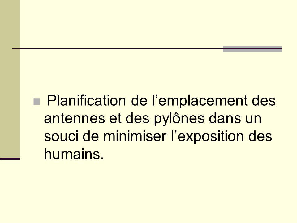 Planification de lemplacement des antennes et des pylônes dans un souci de minimiser lexposition des humains.