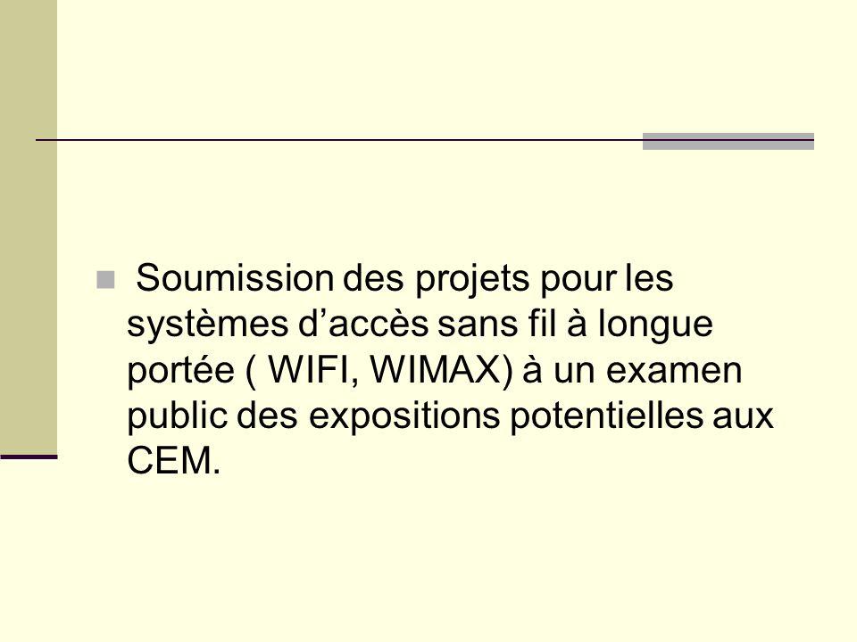 Soumission des projets pour les systèmes daccès sans fil à longue portée ( WIFI, WIMAX) à un examen public des expositions potentielles aux CEM.