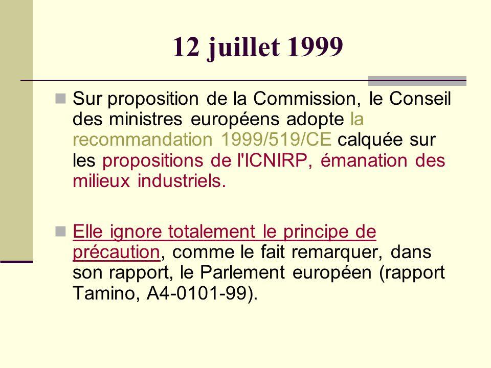 12 juillet 1999 Sur proposition de la Commission, le Conseil des ministres européens adopte la recommandation 1999/519/CE calquée sur les propositions