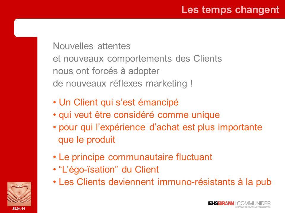 28.04.14 Les temps changent Nouvelles attentes et nouveaux comportements des Clients nous ont forcés à adopter de nouveaux réflexes marketing .