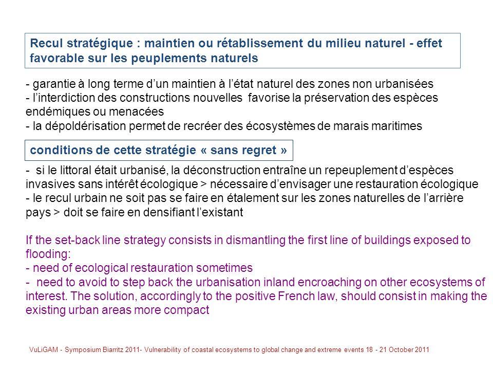 - si le littoral était urbanisé, la déconstruction entraîne un repeuplement despèces invasives sans intérêt écologique > nécessaire denvisager une res