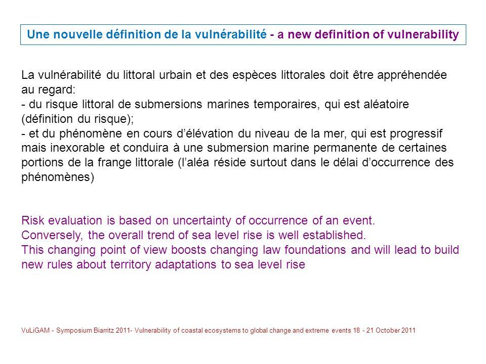 Une nouvelle définition de la vulnérabilité - a new definition of vulnerability La vulnérabilité du littoral urbain et des espèces littorales doit êtr