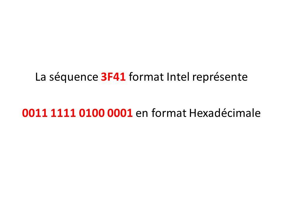La séquence 3F41 format Intel représente 0011 1111 0100 0001 en format Hexadécimale