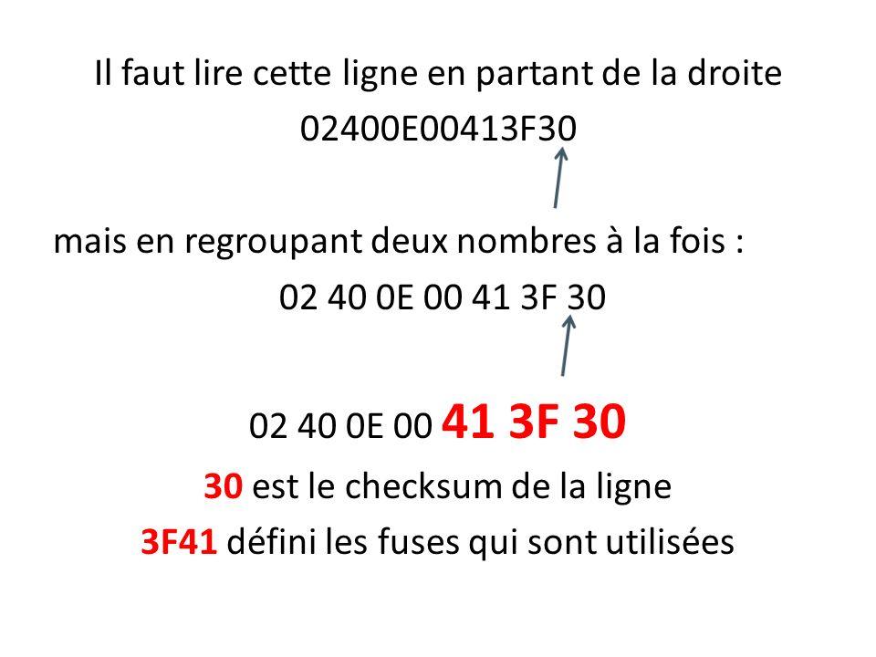 Il faut lire cette ligne en partant de la droite 02400E00413F30 mais en regroupant deux nombres à la fois : 02 40 0E 00 41 3F 30 30 est le checksum de