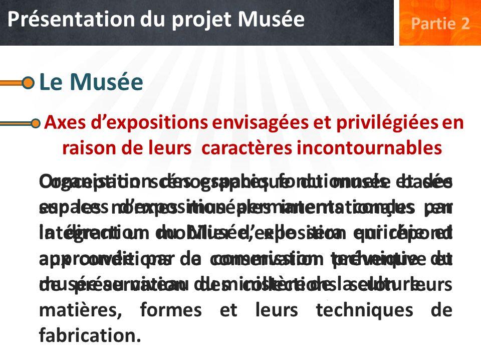 Présentation du projet Musée Partie 2 Le Musée Axes dexpositions envisagées et privilégiées en raison de leurs caractères incontournables Organisation