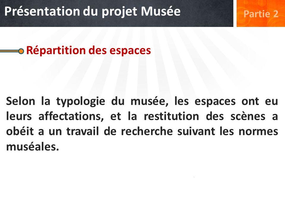 Répartition des espaces Selon la typologie du musée, les espaces ont eu leurs affectations, et la restitution des scènes a obéit a un travail de reche