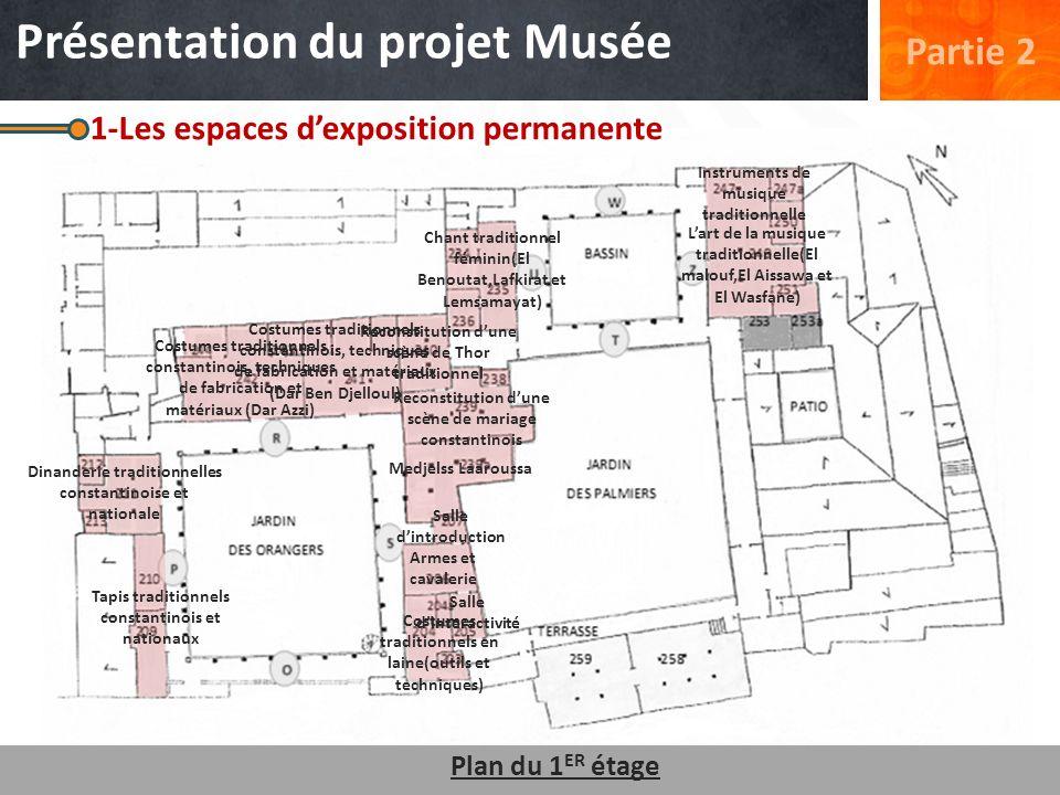 1-Les espaces dexposition permanente Tapis traditionnels constantinois et nationaux Dinanderie traditionnelles constantinoise et nationale Plan du 1 E
