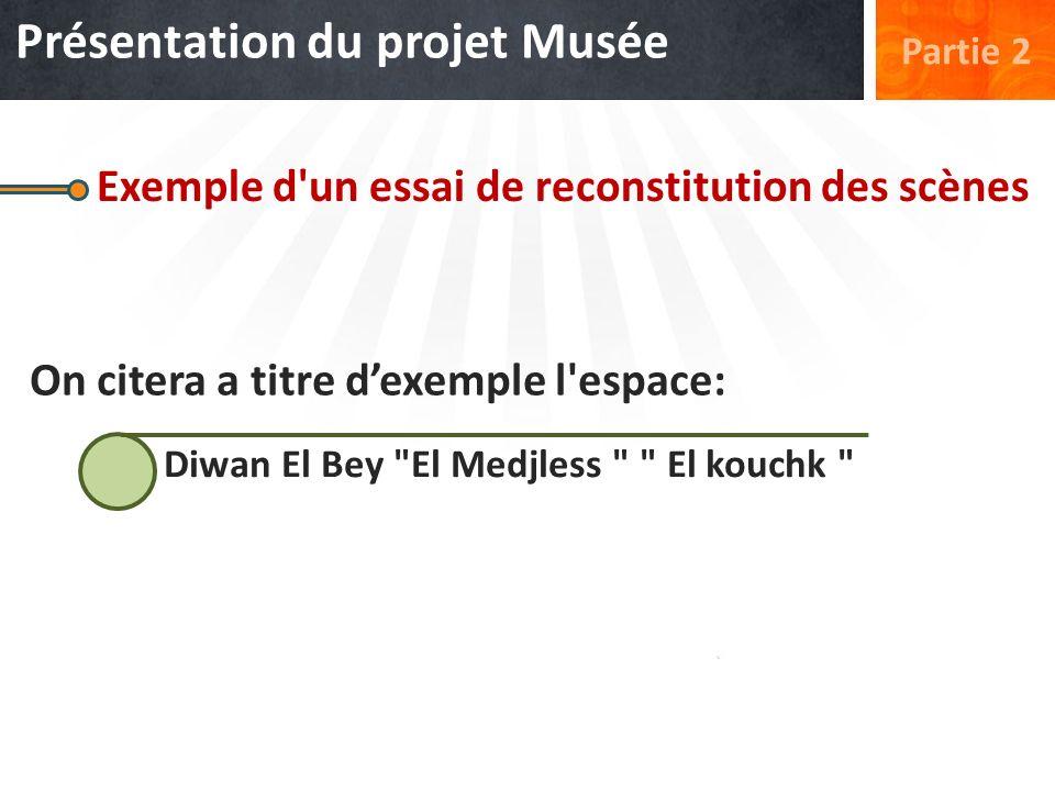 Exemple d'un essai de reconstitution des scènes On citera a titre dexemple l'espace: Diwan El Bey