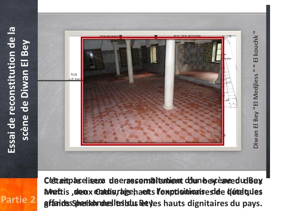 Essai de reconstitution de la scène de Diwan El Bey Partie 2 Cétait le lieux de rassemblement du bey avec deux Muftis,deux Cadis, lés hauts fonctionna
