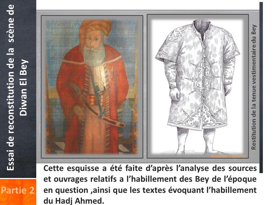 Restitution de la tenue vestimentaire du Bey Partie 2 Essai de reconstitution de la scène de Diwan El Bey Cette esquisse a été faite daprès lanalyse d
