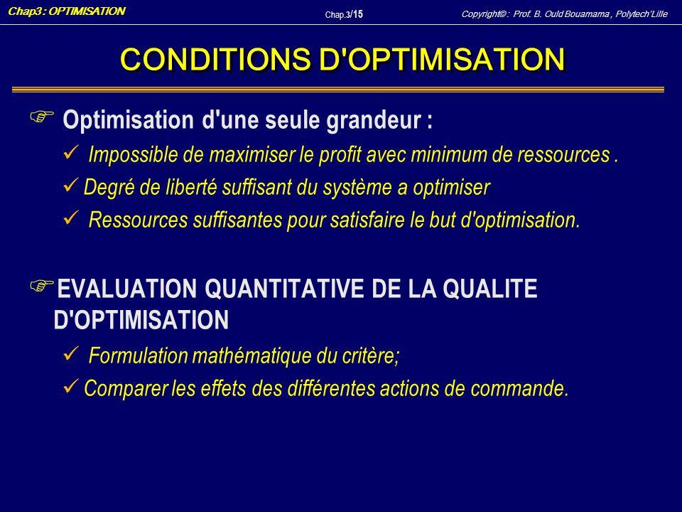 Copyright© : Prof. B. Ould Bouamama, PolytechLille Chap3 : OPTIMISATION Chap.3 / 15 CONDITIONS D'OPTIMISATION F Optimisation d'une seule grandeur : Im