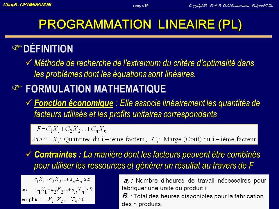 Copyright© : Prof. B. Ould Bouamama, PolytechLille Chap3 : OPTIMISATION Chap.3 / 19 F DÉFINITION Méthode de recherche de l'extremum du critère d'optim