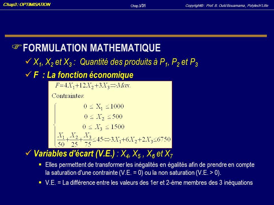 Copyright© : Prof. B. Ould Bouamama, PolytechLille Chap3 : OPTIMISATION Chap.3 / 31 F FORMULATION MATHEMATIQUE X 1, X 2 et X 3 : Quantité des produits